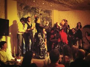 """Eliza with the group """"Soniquete"""" and Marien Luevano en La Cueva Rociera. May 2013, Mexico City."""