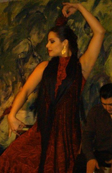 """Eliza dancing at La Cueva Rociera with """"Flamencura"""", Mexico City, 2013"""