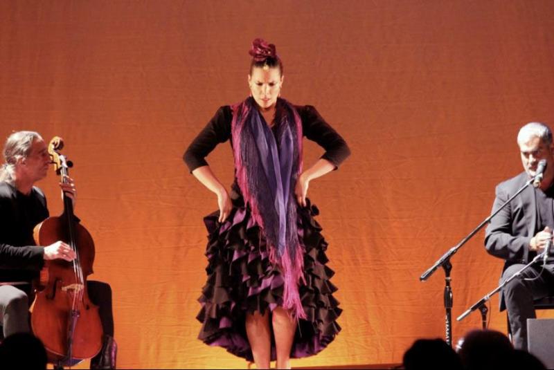 Eliza with singer José Cortés and Michael Kott on cello. Juan Siddi Flamenco Theatre Co. 2013 National Tour.