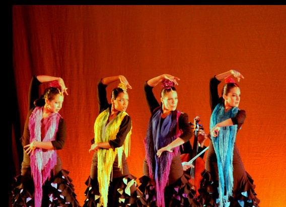 Eliza with Stephanie Narvaez, Radha Svetnicka & Illeana Gomez. Juan Siddi Flamenco Theatre Co. 2013 National Tour.